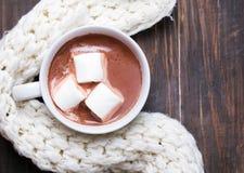Горячее какао с зефирами и греет связанный шарф Стоковая Фотография