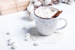 Горячее какао с зефирами и циннамоном Стоковое фото RF