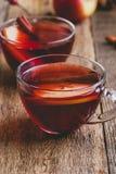 Горячее питье с яблочным сидром, отрезанным плодоовощ и ручкой циннамона Стоковые Изображения