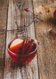 Горячее питье с яблочным сидром, отрезанным плодоовощ и ручкой циннамона Стоковое Изображение RF