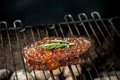 Горячее пряное приготовление на гриле стейка на барбекю лета над горячими гарнированными углями украшенными с ветвью розмариновог Стоковые Фото