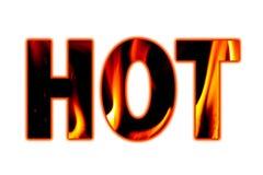 Горячее слово в прописных буквах заполнило с пламенами и искрами Стоковые Изображения RF
