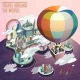 Горячее infographic 3d туризма воздушного шара плоское равновеликое бесплатная иллюстрация
