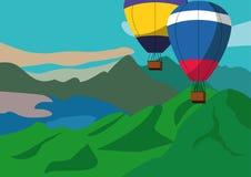 Горячие воздушные шары над горами иллюстрация вектора