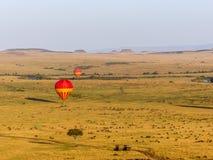 Горячие воздушные шары над Maasai Mara Стоковые Фотографии RF