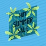 Горячие знамя продажи лета, плакат или рекламное слоган Стоковое Фото
