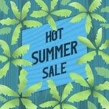 Горячие знамя продажи лета, плакат или рекламное слоган Стоковые Изображения