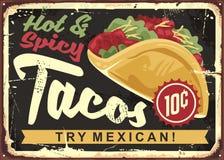 Горячие и пряные мексиканские тако иллюстрация вектора