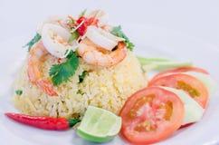 Горячие и пряные тайские жареные рисы морепродуктов Стоковые Фотографии RF