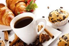 Горячие кофе и булочка Стоковое Изображение