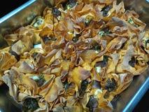 Горячие кудрявые tartlets сыра с бальзамическим луком Стоковые Фотографии RF