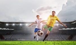 Горячие моменты футбольного матча Мультимедиа Стоковое Фото