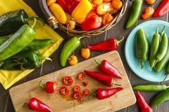 Горячие разнообразия перца помадки и Chili Стоковое Изображение RF