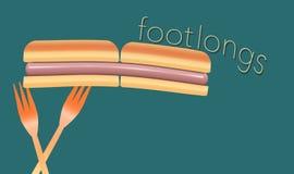 Горячие сосиски тема этого красочного изображения горячих сосисок, плюшки и пластичные вилки пикника бесплатная иллюстрация