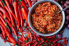 Горячие специи и соус chili на плите Стоковые Фото