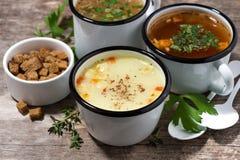 Горячие супы в кружках Стоковые Изображения