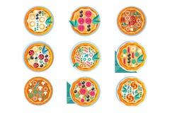 Горячий весь набор пиццы, свежо испеченная пицца с различной иллюстрацией вектора ингредиентов на белой предпосылке иллюстрация штока