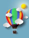 Горячий воздушный шар высокий в небе с солнечным светом иллюстрация штока