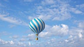 Горячий воздушный шар в голубом небе сток-видео