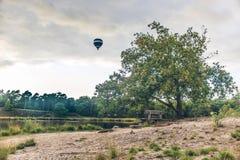 Горячий воздушный шар над ландшафтом стоковые изображения rf