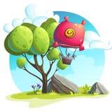 Горячий воздушный шар на предпосылке деревьев и утесов Стоковые Фотографии RF