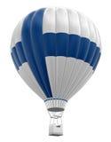 Горячий воздушный шар с финским флагом (включенный путь клиппирования) Стоковая Фотография RF