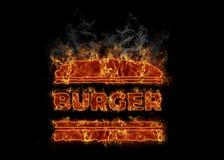 Горячий горящий символ бургера иллюстрация штока