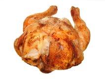 Горячий зажаренный в духовке цыпленк цыпленок на белизне стоковые фотографии rf