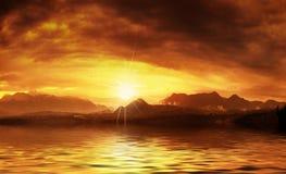 горячий заход солнца Стоковое Изображение