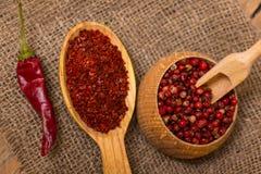 Горячий задавленный перец красных чилей Стоковое Изображение