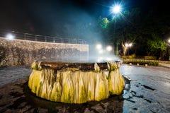 Горячий источник Raksawarin в Ranong, Таиланде, nighttime Стоковое фото RF