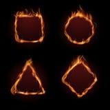 Горячий комплект вектора рамки пламени огня иллюстрация штока