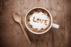 Горячий кофе с искусством молока пены, кофе искусства latte Стоковая Фотография