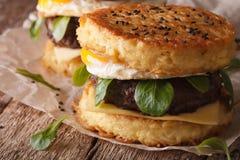 Горячий макрос бургера рамэнов на бумаге горизонтально Стоковое Фото