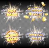 Горячий мега набор знамени вектора супер и особенных продаж иллюстрация штока