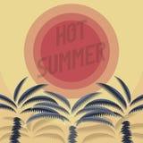 Горячий плакат лета с красным солнцем Стоковая Фотография
