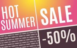 Горячий плакат продвижения продажи лета также вектор иллюстрации притяжки corel Стоковое Изображение