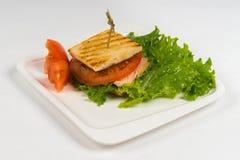 Горячий сандвич блюда на белой предпосылке Стоковое Изображение RF