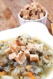 Горячий свежий овощной суп диеты Стоковое фото RF