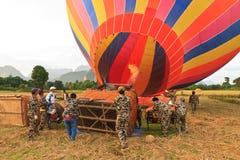 Горячий старт воздушного шара в vieng vang Стоковые Изображения RF