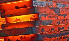 Горячий сляб внутри завода Стоковая Фотография