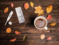 Горячий травяной чай, пилюльки, носовые падения, термометр и разрешение осени Стоковые Изображения