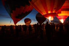 Горячий фестиваль в Pereslavl-Zalessky, летание воздушных шаров ночи Yaroslavl областное в 16-ое июля 2016 Стоковое фото RF