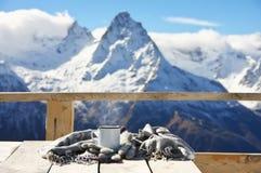 Горячий чай в горах зимы Стоковые Фото