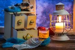 Горячий чай липы самое лучшее в зиме Стоковые Фото
