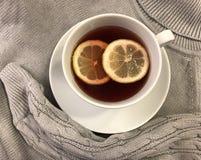 Горячий чай с лимоном и теплым, привлекательным пуловером стоковое фото rf