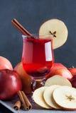Горячий чай с специями клюкв, яблока и циннамона стоковая фотография