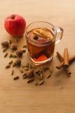 Горячий чай с яблоком, циннамоном и кардамоном стоковое фото