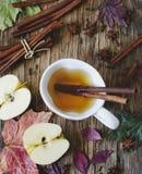Горячий чай яблока напитка, sider, пунш с ручкой циннамона, анисовка звезды и гвоздика Сезонный обдумыванный напиток на деревянно стоковое фото rf