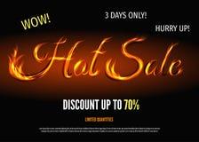 Горячий шаблон плаката продажи с знаком от огня Стоковое фото RF